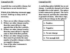 Concep Test 21 Concep Test 22 A particle