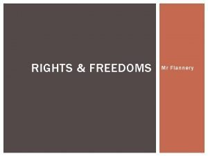 RIGHTS FREEDOMS Mr Flannery WHAT DO YOU KNOW