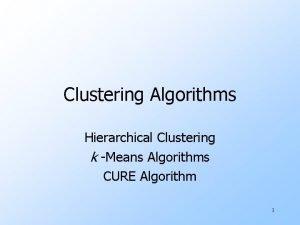 Clustering Algorithms Hierarchical Clustering k Means Algorithms CURE