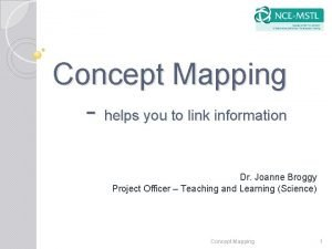 Concept Mapping helps you to link information Dr