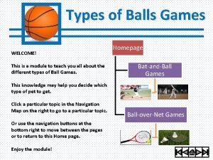 Types of Balls Games WELCOME This is a