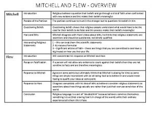 MITCHELL AND FLEW OVERVIEW Mitchell Flew Introduction Religious