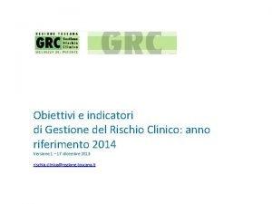 Obiettivi e indicatori di Gestione del Rischio Clinico
