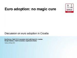 Euro adoption no magic cure Discussion on euro