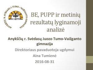 BE PUPP ir metini rezultat lyginamoji analiz Anyki