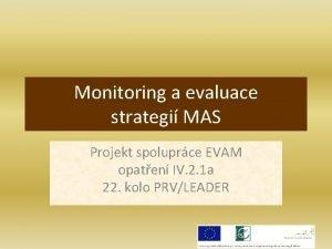 Monitoring a evaluace strategi MAS Projekt spoluprce EVAM