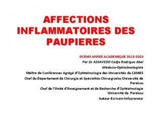 AFFECTIONS INFLAMMATOIRES DES PAUPIERES DCEM 3 ANNEE ACADEMIQUE