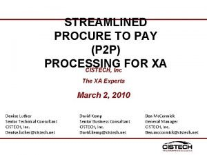 STREAMLINED PROCURE TO PAY P 2 P PROCESSING