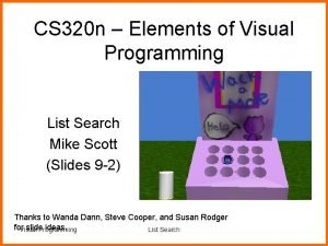 CS 320 n Elements of Visual Programming List