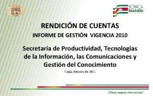 RENDICIN DE CUENTAS INFORME DE GESTIN VIGENCIA 2010