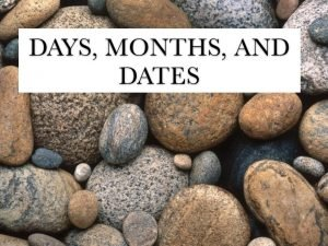 Days Months and Dates Vocab Hoy Today Maana