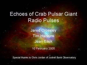 Echoes of Crab Pulsar Giant Radio Pulses Jared