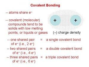 Covalent Bonding atoms share e covalent molecular compounds