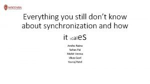 Everything you still dont know about synchronization and