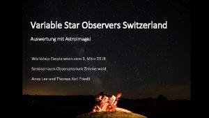 Variable Star Observers Switzerland Auswertung mit Astro Image