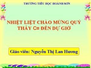 TRNG TIU HC HONH SN NHIT LIT CHO