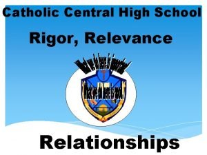 Catholic Central High School Rigor Relevance Relationships Rigor
