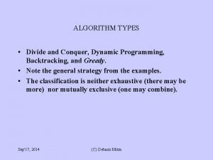 ALGORITHM TYPES Divide and Conquer Dynamic Programming Backtracking