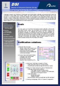 DSI Division of Integrated Systems Design Integrated Functional