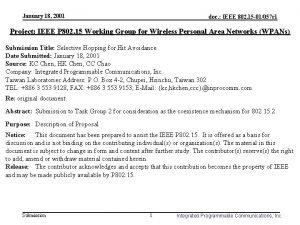 January 18 2001 doc IEEE 802 15 01057
