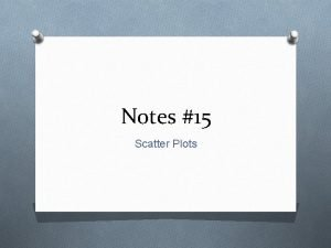 Notes 15 Scatter Plots What are Scatter Plots