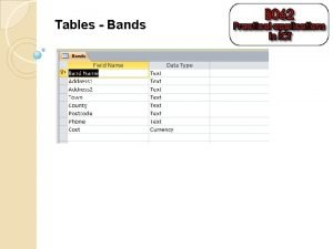 Tables Bands Tables Venues Tables Lighting Tables Sound