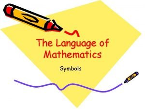 The Language of Mathematics Symbols Symbols A symbol
