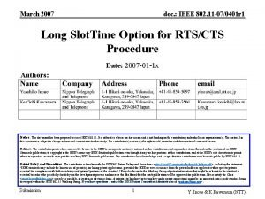 March 2007 doc IEEE 802 11 070401 r