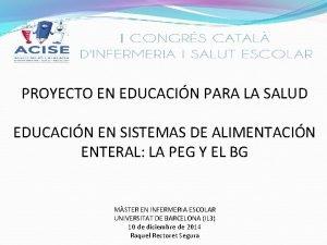 PROYECTO EN EDUCACIN PARA LA SALUD EDUCACIN EN