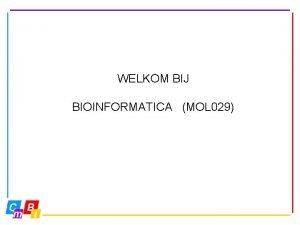 WELKOM BIJ BIOINFORMATICA MOL 029 Bioinformatica MOL 029