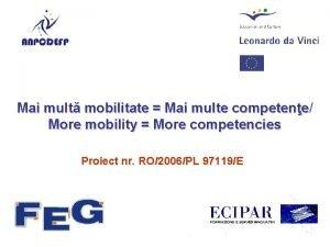 Mai mult mobilitate Mai multe competene competene More