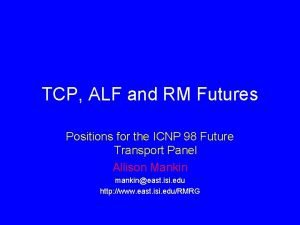TCP ALF and RM Futures Positions for the