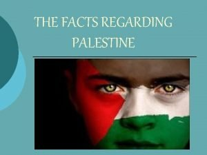 THE FACTS REGARDING PALESTINE SIGNIFICANCE OF PALESTINE Ayub