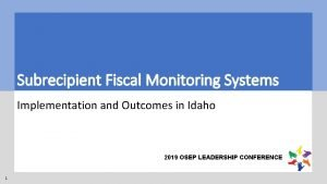 Subrecipient Fiscal Monitoring Systems Implementation and Outcomes in