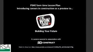 PSHE form time Lesson Plan Introducing careers in