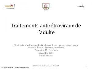 Traitements antirtroviraux de ladulte DIU de prise en