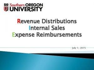 Revenue Distributions Internal Sales Expense Reimbursements July 1