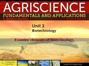 Unit 3 Biotechnology Examine elements of biotechnology Introduction