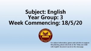 Subject English Year Group 3 Week Commencing 18520