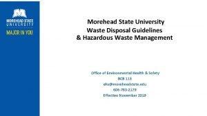 Morehead State University Waste Disposal Guidelines Hazardous Waste