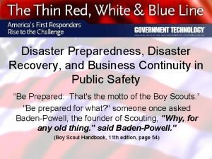 Disaster Preparedness Disaster Recovery and Business Continuity in