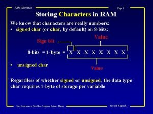 RAM Allocation Page 1 Storing Characters in RAM