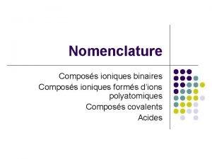 Nomenclature Composs ioniques binaires Composs ioniques forms dions