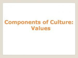 Components of Culture Values Values defined A standard