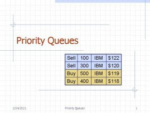 Priority Queues 2242021 Sell 100 IBM 122 Sell