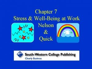 Chapter 7 Stress WellBeing at Work Nelson Quick