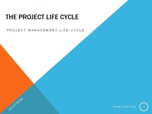 THE PROJECT LIFE CYCLE PROJECT MANAGEMENT LIFE CYCLE