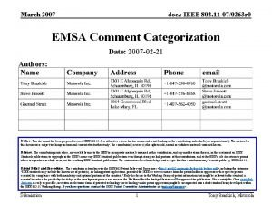 March 2007 doc IEEE 802 11 070263 r