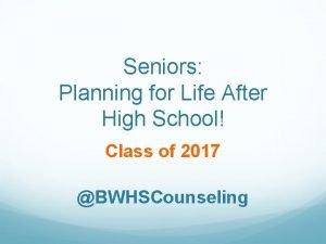 Seniors Planning for Life After High School Class