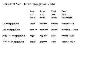 Review of io Third Conjugation Verbs Pres Act